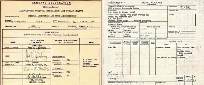 Buzz Aldrin's expense filing, and his customs declaration.