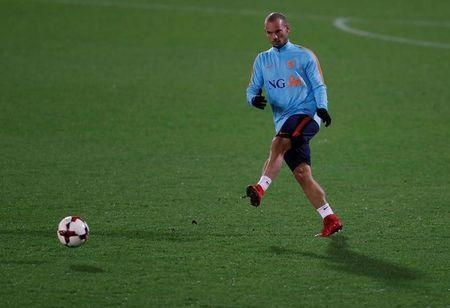 Soccer Football - Netherlands Training - Pittodrie, Aberdeen, Britain - November 8, 2017 Netherlands' Wesley Sneijder during training Action Images via Reuters/Lee Smith/File Photo