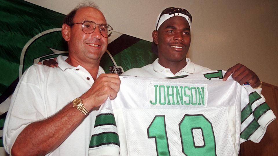 Mandatory Credit: Photo by Bruce Cotler/AP/Shutterstock (6032303a)KOTITE JOHNSON Keyshawn Johnson, right, holds up a New York Jets jersey at a news conference with New York Jets coach Rich Kotite in Hempstead, N.