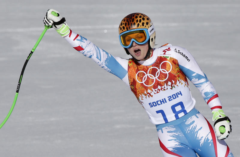 Austria's Anna Fenninger comes to a halt at the end of the women's super-G at the Sochi 2014 Winter Olympics, Saturday, Feb. 15, 2014, in Krasnaya Polyana, Russia. (AP Photo/Gero Breloer)