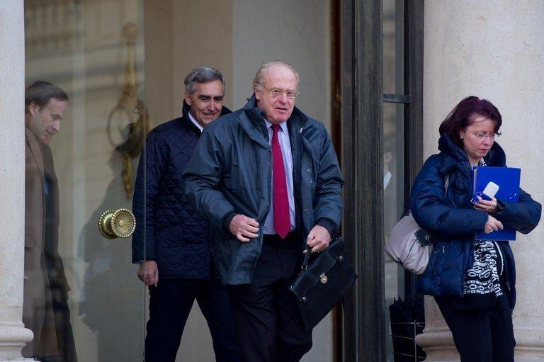 Paolo Scaroni leaves a breakfast meeting with French President Francois Hollande in Paris on January 11, 2013. Financial police raided Scaroni's residence in Rome and Eni's headquarters near Milan in their inquiry, which revolves around Eni's oil services subsidiary Saipem and its work on Algerian energy infrastructure