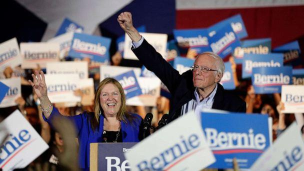 PHOTO: Democratic presidential candidate Sen. Bernie Sanders, I-Vt., right, with his wife Jane, raises his hand as he speaks during a campaign event in San Antonio, Feb. 22, 2020. (Eric Gay/AP Photo)