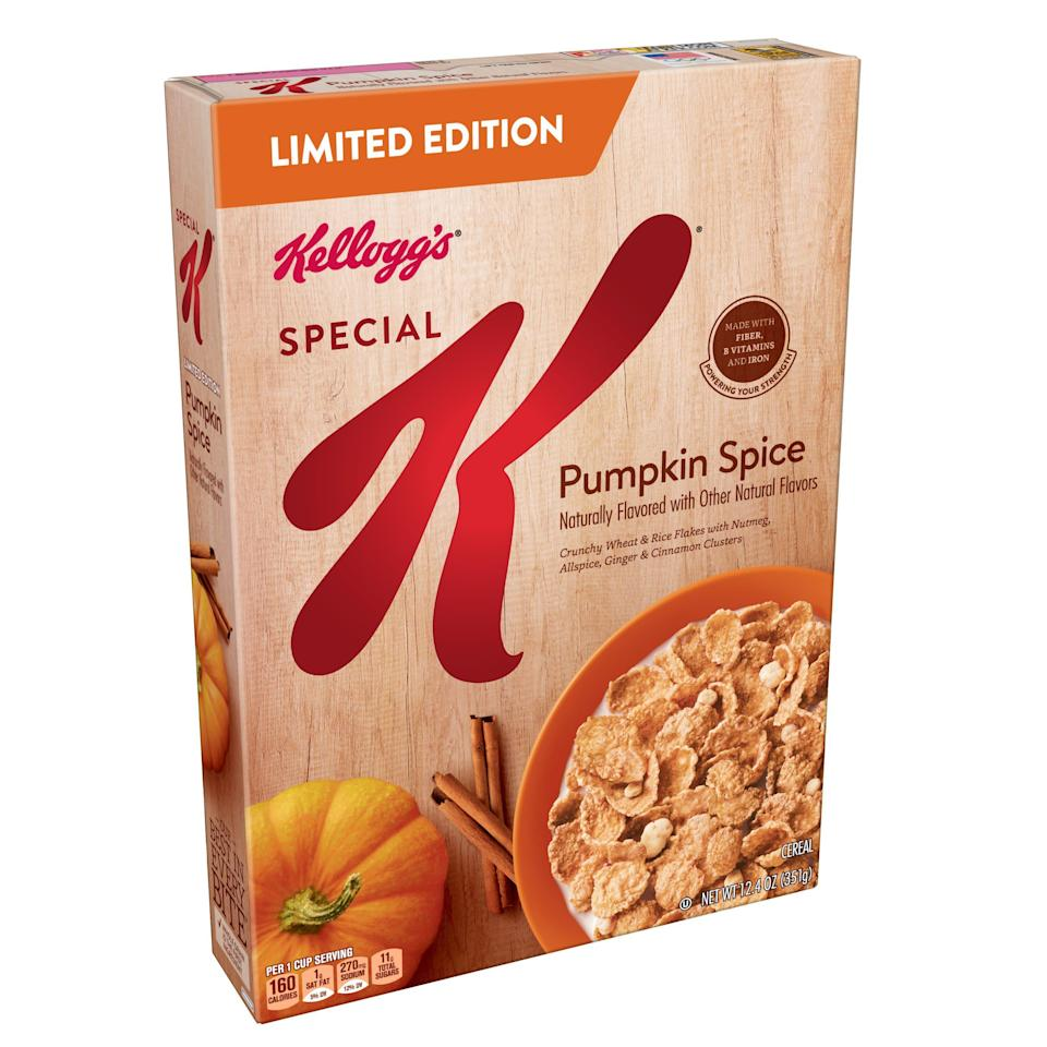 "<p><strong>Special K</strong></p><p>walmart.com</p><p><strong>$9.99</strong></p><p><a href=""https://go.redirectingat.com?id=74968X1596630&url=https%3A%2F%2Fwww.walmart.com%2Fip%2F54304514&sref=https%3A%2F%2Fwww.delish.com%2Ffood-news%2Fg22727687%2Ffall-foods-drinks-flavors%2F"" rel=""nofollow noopener"" target=""_blank"" data-ylk=""slk:BUY NOW"" class=""link rapid-noclick-resp"">BUY NOW</a></p><p>More pumpkin for breakfast!!!</p>"