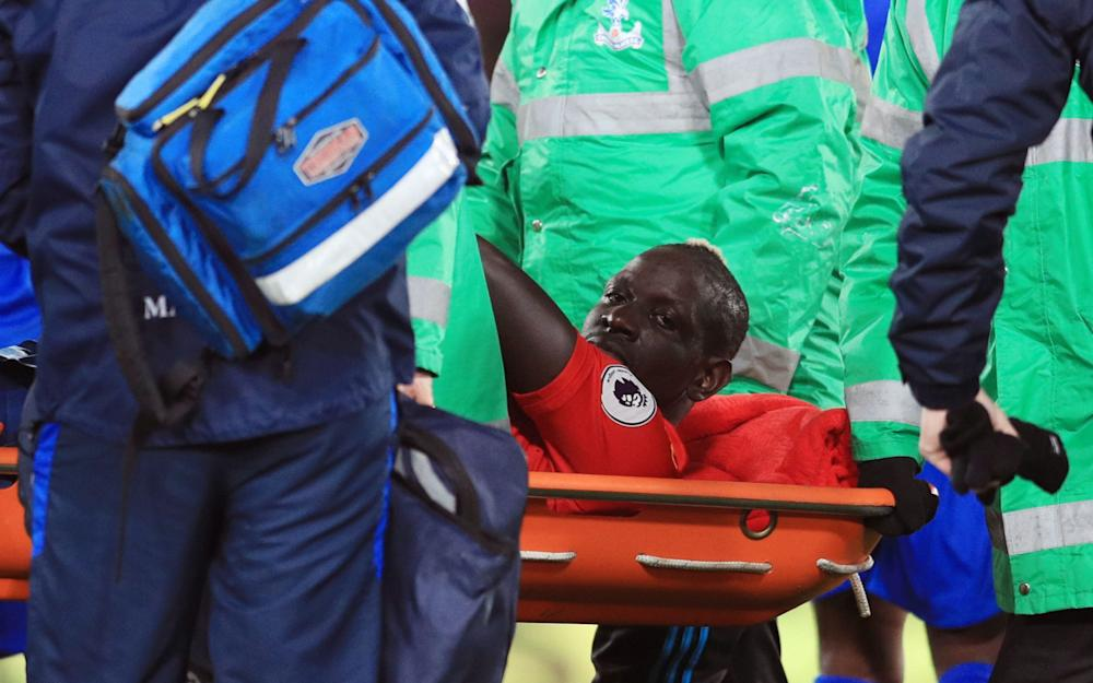 Mamadou Sakho is stretchered off - Credit: PA