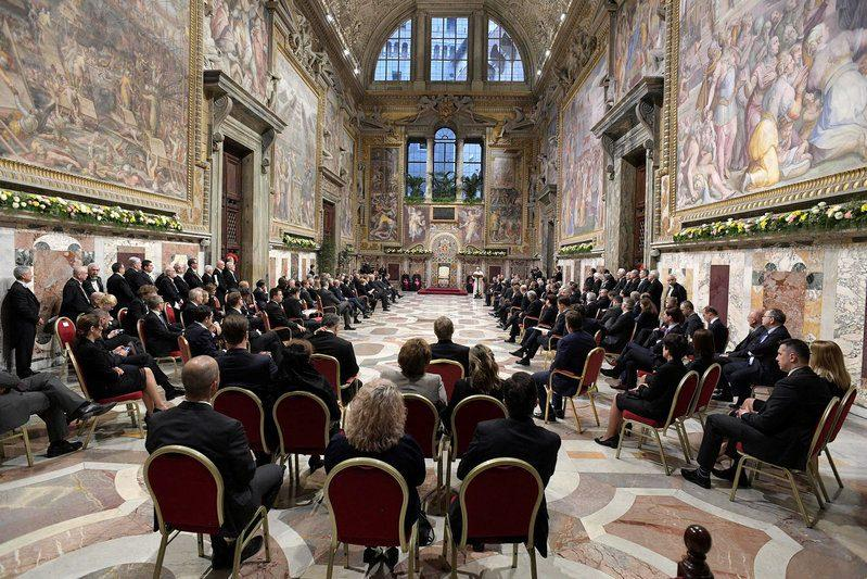 Pope Francis attends a meeting with EU leaders at the Vatican March 24, 2017. REUTERS/Osservatore Romano/Handout - Credit: Reuters