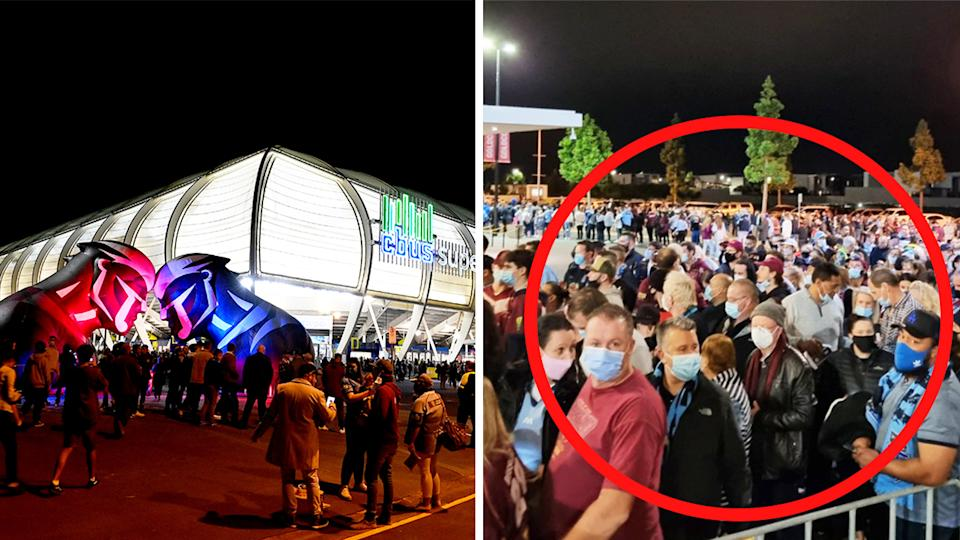 C-Bus Stadium (pictured left) and queues forming ahead of State of Origin Game 3 (pictured right).