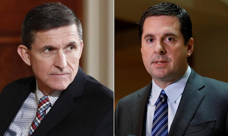 Michael Flynn, left, 'deserves America's gratitude and respect for dedicating so much of his life to strengthening our national security', according to Devin Nunes, right.
