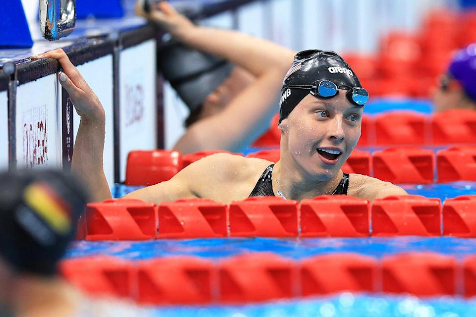 Jessica Long of Team United States reacts after winning the gold medal in the Women's 200m Individual Medley - SM8 Final on day 4 of the Tokyo 2020 Paralympic Games at Tokyo Aquatics Centre on August 28, 2021 in Tokyo, Japan.