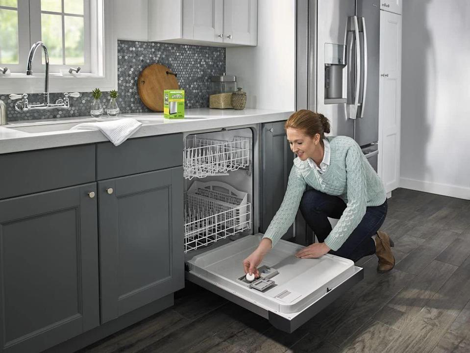 """Your dishwasher is probably way dirtier than you imagine. These will break down lime and mineral buildup so your dishes come out looking as sparkly as they do in all those dish soap commercials.<br /><strong><br />Promising review:</strong>""""After using this product,<strong>I am happy to report that my $5 investment saved me over $500.</strong>I was ready to replace my dishwasher, due to super cloudy glasses, residue, and just not getting clean. Then I saw a product test review for Affresh in Good Housekeeping magazine. I was ordering some stuff from Amazon anyway, so I added that to my order. I did not expect the results I got!<strong>The glassware that I thought was permanently etched and ruined came out like new.</strong>Same with cutlery. The difference is unbelievable. I am amazed!"""" —<a href=""""https://amzn.to/3mweM1s"""" target=""""_blank"""" rel=""""nofollow noopener noreferrer"""" data-skimlinks-tracking=""""5892474"""" data-vars-affiliate=""""Amazon"""" data-vars-href=""""https://www.amazon.com/gp/customer-reviews/R9YKEDBYHP6AP?tag=bfdaniel-20&ascsubtag=5892474%2C28%2C33%2Cmobile_web%2C0%2C0%2C16507737"""" data-vars-keywords=""""cleaning"""" data-vars-link-id=""""16507737"""" data-vars-price="""""""" data-vars-product-id=""""15931355"""" data-vars-retailers=""""Amazon"""">Sheila</a><br /><br /><strong>Get a six-pack from Amazon for<a href=""""https://amzn.to/39ZQCat"""" target=""""_blank"""" rel=""""nofollow noopener noreferrer"""" data-skimlinks-tracking=""""5892474"""" data-vars-affiliate=""""Amazon"""" data-vars-asin=""""B00SXC85IQ"""" data-vars-href=""""https://www.amazon.com/dp/B00SXC85IQ?tag=bfdaniel-20&ascsubtag=5892474%2C28%2C33%2Cmobile_web%2C0%2C0%2C16507719"""" data-vars-keywords=""""cleaning"""" data-vars-link-id=""""16507719"""" data-vars-price="""""""" data-vars-product-id=""""17877556"""" data-vars-product-img=""""https://m.media-amazon.com/images/I/41xrjMhfeOL.jpg"""" data-vars-product-title=""""Affresh W10549851 Dishwasher Cleaner 6 Tablets Formulated to Clean Inside All Machine Models, Count"""" data-vars-retailers=""""Amazon"""">$5.98</a>.</strong>"""