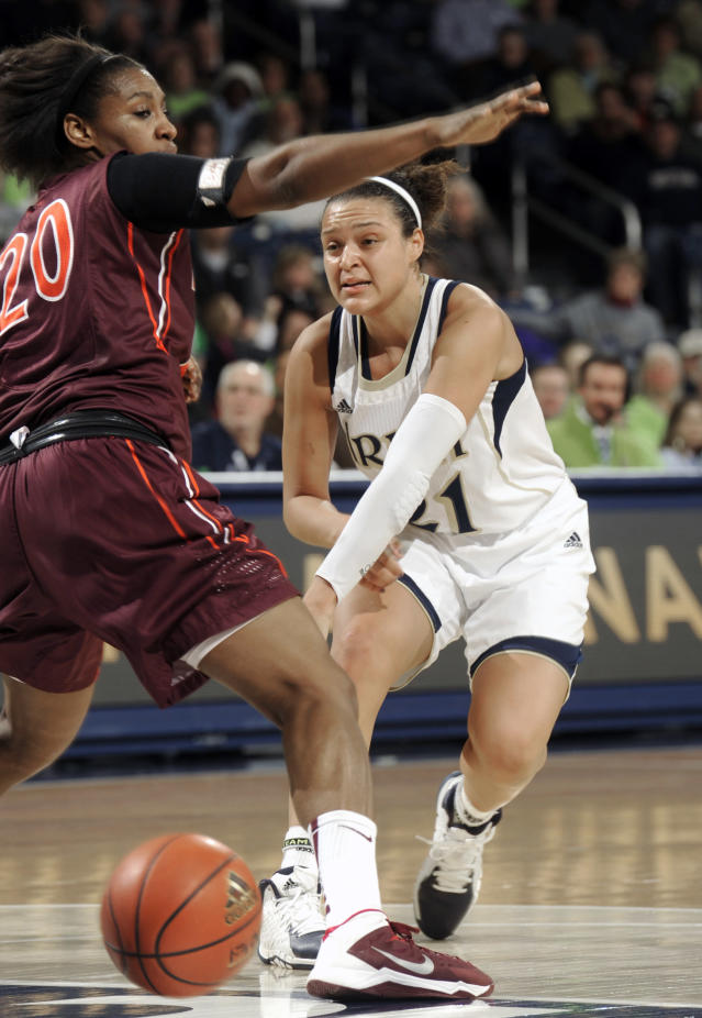 Notre Dame guard Kayla McBride, right, throws a pass around Virginia Tech forward Nia Evans during the first half of an NCAA college basketball game, Thursday, Jan. 30, 2014 in South Bend, Ind. (AP Photo/Joe Raymond)