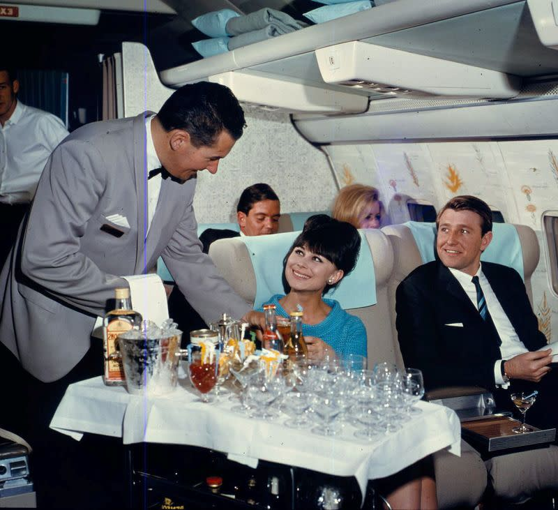 Handout photo of a Qantas-operated Boeing 707-138 interior