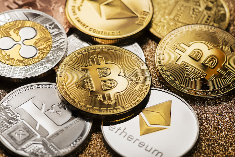 Bitcoin and altcoins cryptocurrency close up shoot