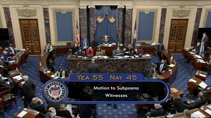 The Senate voted 55-45 in favor of calling witnesses during impeachment trial on Saturday. (Reuters Video)