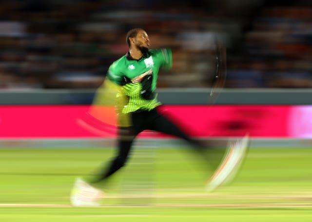 Southern Brave's Chris Jordan bowling during the men's final at Lord's