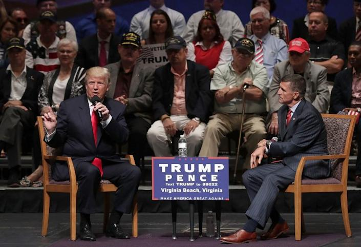 Donald Trump and Michael Flynn at a campaign event last September. (Photo: Alex Wong/Getty Images)