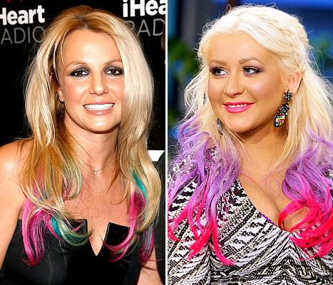Who Rocked Her Rainbow Extensions Better: Britney Spears or Christina Aguilera?