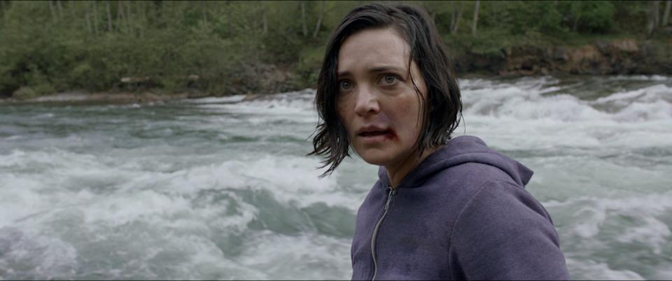 """Jules Willcox plays a woman being stalked by a middle-aged psycho on the road and through the woods in the survival thriller """"Alone."""""""