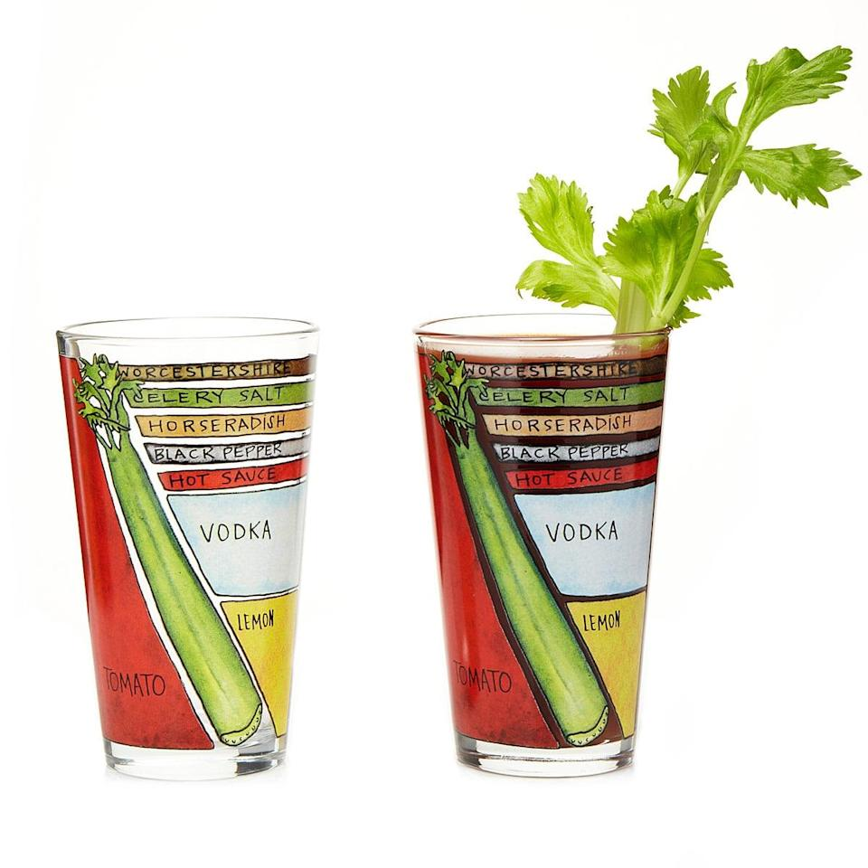 <p>Never forget how to make the perfect Bloody Mary with the helpful <span>Bloody Mary Diagram Glassware</span> ($25).</p>