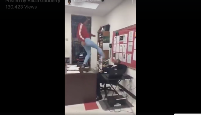 The viral video sees the teen kicking, pushing, and hitting