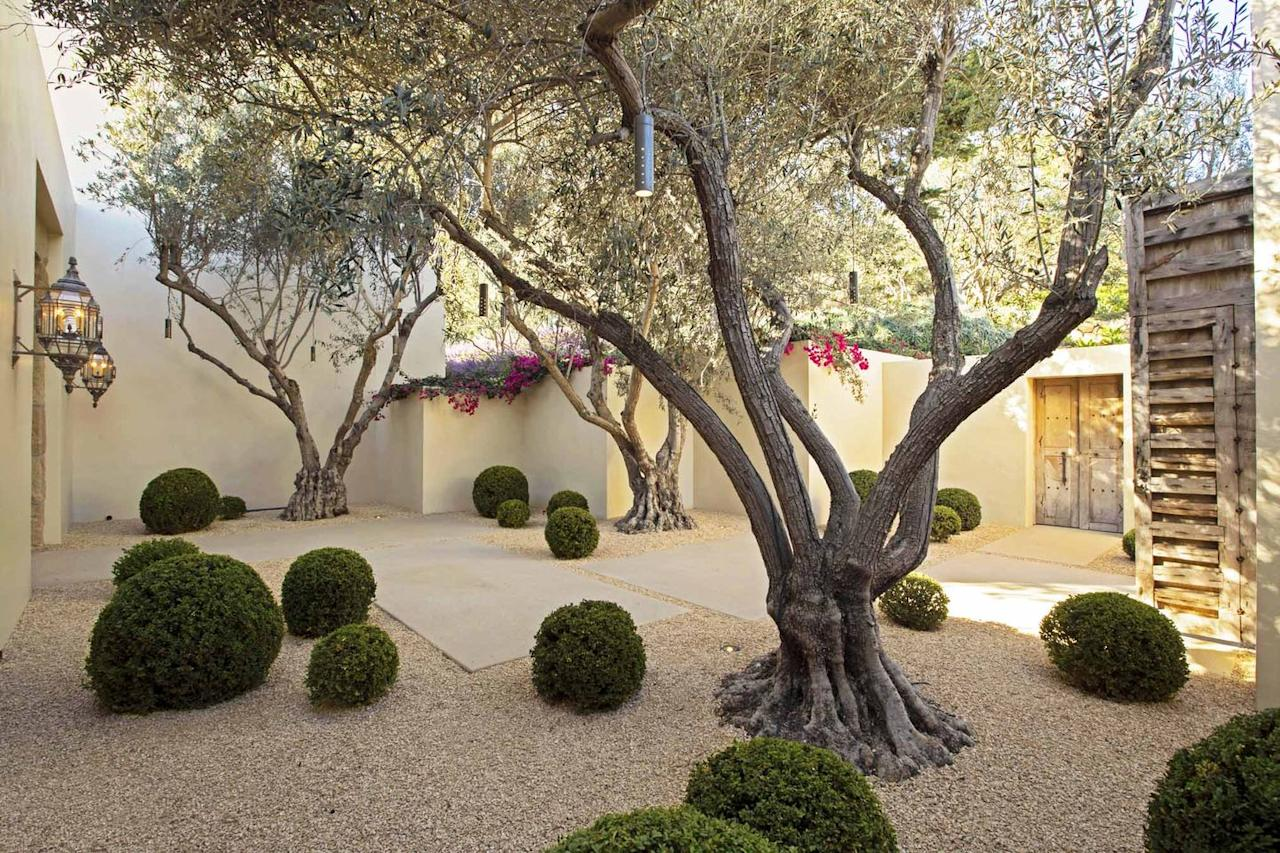 "<p>At this <a href=""https://www.veranda.com/outdoor-garden/a30916731/modern-montecito-garden-hoerr-schaudt/"" target=""_blank"">Montecito, California, home</a>, landscaper Steve Gierke of <a href=""https://www.hoerrschaudt.com/"" target=""_blank"">Hoerr Schaudt</a> replaced a paved passageway with this gravel entry courtyard planted sparsely with olive trees and boxwood globes that offer drought-tolerant shade and cool color. </p>"
