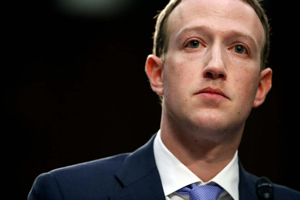 Mark Zuckerberg testifies before a joint hearing of the Commerce and Judiciary Committees in 2018 (AP)
