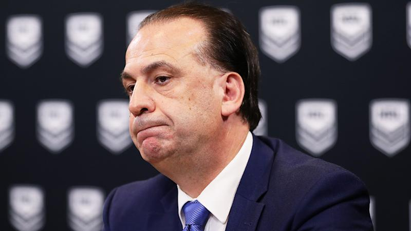 ARLC Chairman Peter V'landys is pictured during a press conference, announcing the suspension of the 2020 NRL season.