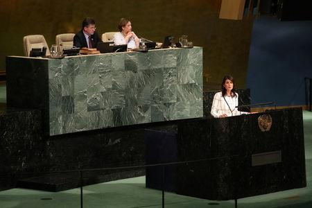 U.S. Ambassador to the United Nations Nikki Haley addresses a United Nations General Assembly meeting ahead of a vote on a draft resolution that would deplore the use of excessive force by Israeli troops against Palestinian civilians at U.N. headquarters in New York, U.S., June 13, 2018. REUTERS/Mike Segar