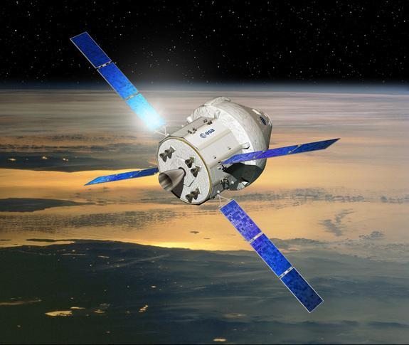 Artist's concept of NASA's Orion crew capsule with a service module provided by the European Space Agency.