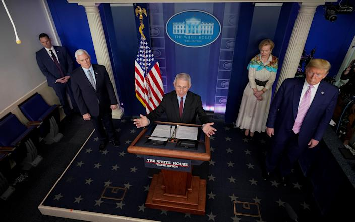 Dr. Anthony Fauci, director of the National Institute of Allergy and Infectious Diseases, addresses the daily coronavirus response briefing flanked by Vice President Mike Pence, White House coronavirus response coordinator Dr. Deborah Birx and President Trump at the White House on Friday. (Joshua Roberts/Reuters)