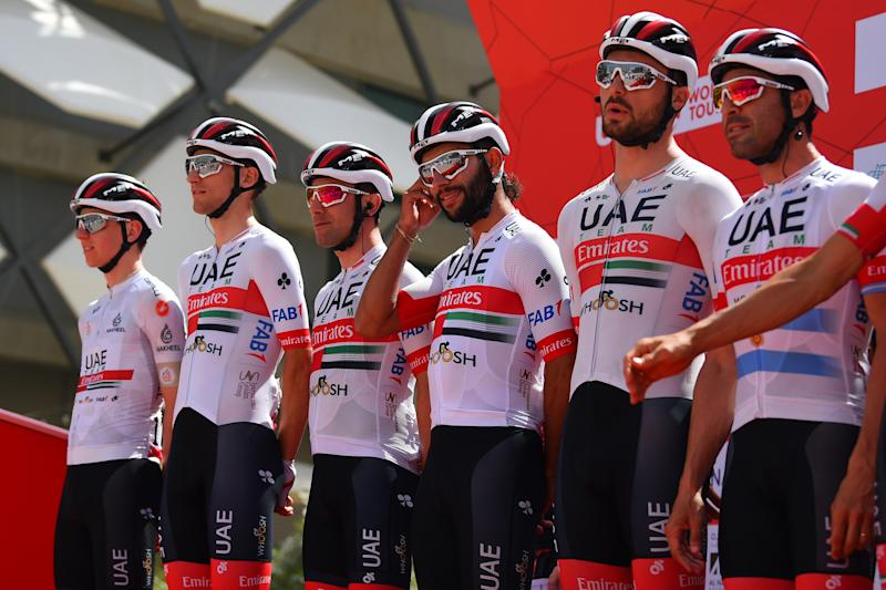 The UAE Emirates team on the podium