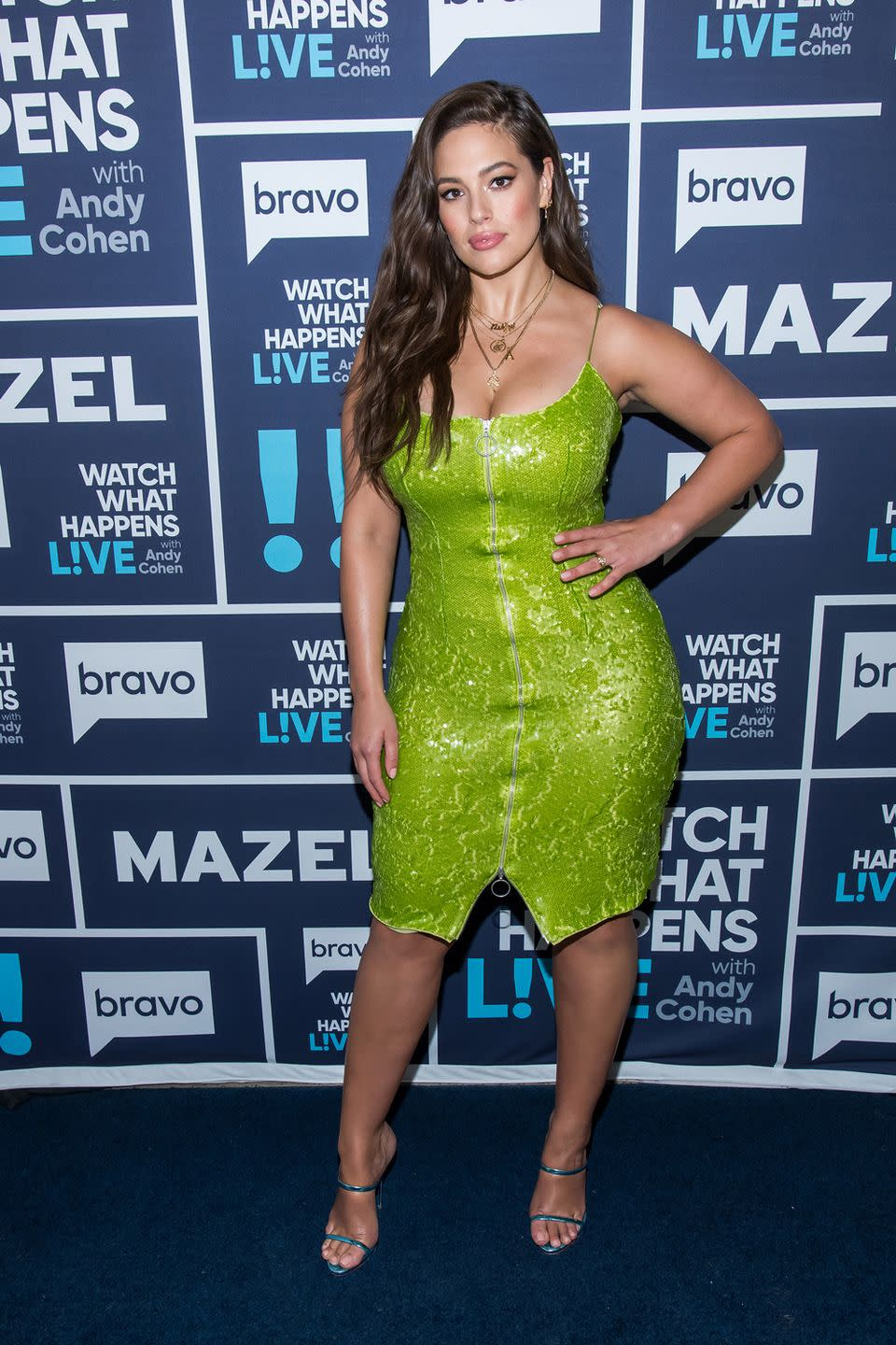 <p>Filming Watch What Happens Live with Andy Cohen: A green sequinned mini dress might sound like an absolutely terrible idea, but with a body like hers, Ashley managed to pull it off. She paired her green look with blue strappy heels and layered gold chains.</p>