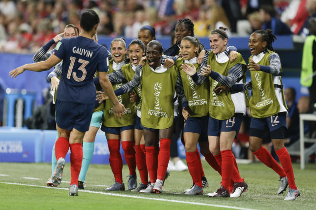 France's Valerie Gauvin celebrates after scoring her side's opening goal during the Women's World Cup Group A soccer match between France and Norway in Nice, France, Wednesday, June 12, 2019. (AP Photo/Claude Paris)