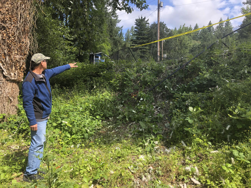 Mark Lockwood, who used to live across the street from the scene, points to a fence Wednesday, June 26, 2019, that was knocked down when a driver crashed into a swimming hole in Washougal, Wash., and ran over two German tourists who were sunbathing, killing them. Police have arrested David Croswell, who lives a few blocks away from the swimming hole, in the deaths of Rudolf Hohstadt, 61, and Regina Hohstadt, 62. (AP Photo/Gillian Flaccus)