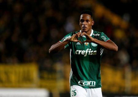 Soccer Football - Copa Libertadores - Penarol v Palmeiras - Campeon del siglo stadium - Montevideo, Uruguay - 26/4/17. Palmeiras's Yerry Mina celebrates after scoring. REUTERS/Andres Stapff/Files