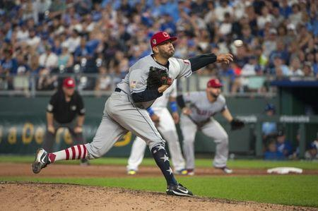 Jul 4, 2018; Kansas City, MO, USA; Cleveland Indians pitcher Oliver Perez (39) throws a pitch in the eighth inning against the Kansas City Royals at Kauffman Stadium. Mandatory Credit: Amy Kontras-USA TODAY Sports