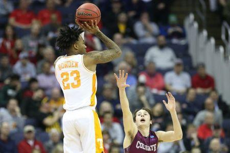 Mar 22, 2019; Columbus, OH, USA; Tennessee Volunteers guard Jordan Bowden (23) shoots the ball in the first half against the Colgate Raiders in the first round of the 2019 NCAA Tournament at Nationwide Arena. Mandatory Credit: Kevin Jairaj-USA TODAY Sports