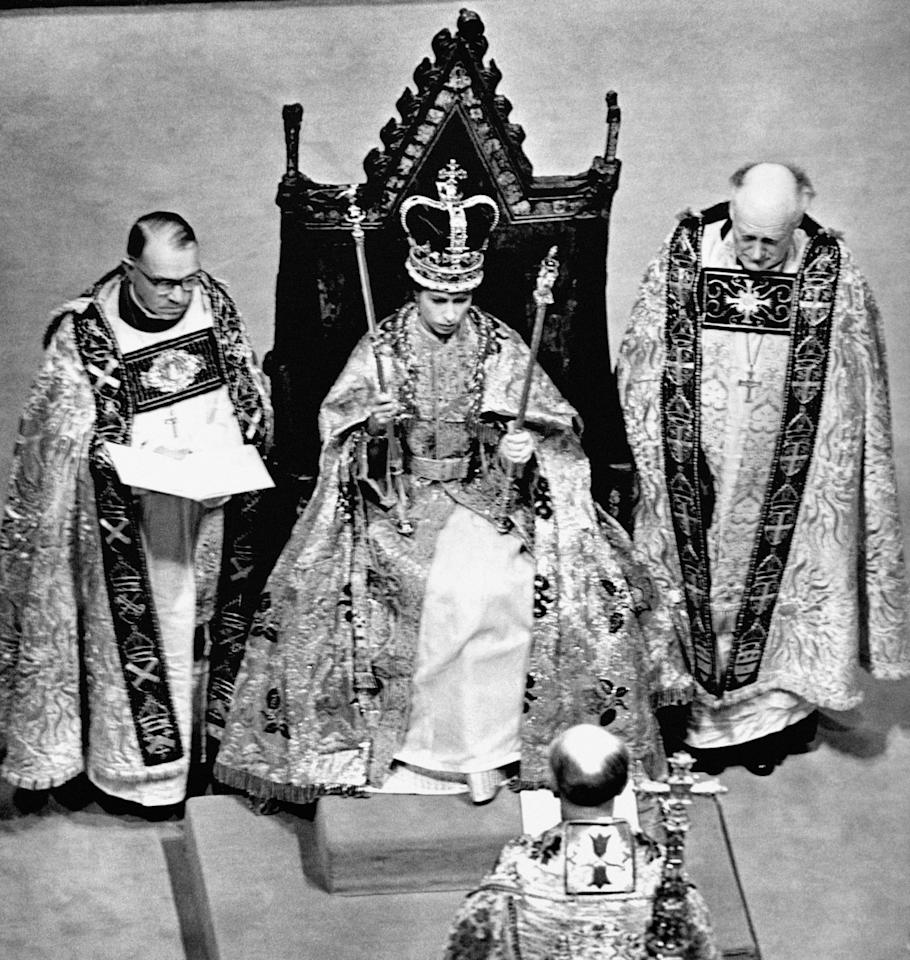 <p>The Queen's coronation took place the year after her accession on 2 June 1953. (PA) </p>