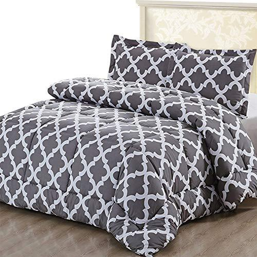 Utopia Bedding Printed Comforter Set (Queen, Grey) with 2 Pillow Shams - Luxurious Brushed Microfiber - Down Alternative Comforter - Soft and Comfortable - Machine Washable (Amazon / Amazon)