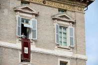 Pope Francis leads Angelus prayer from his window at the Vatican