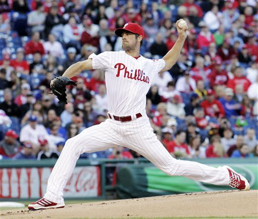 Philadelphia Phillies starting pitcher Cole Hamels throws against the Miami Marlins in the first inning of a baseball game Saturday, May 4, 2013, in Philadelphia. (AP Photo/H. Rumph Jr)