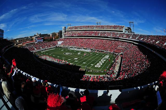 "ATHENS, GA – NOVEMBER 24: A general view of Sanford Stadium during the game between the <a class=""link rapid-noclick-resp"" href=""/ncaab/teams/gaf/"" data-ylk=""slk:Georgia Bulldogs"">Georgia Bulldogs</a> and the <a class=""link rapid-noclick-resp"" href=""/ncaab/teams/gah/"" data-ylk=""slk:Georgia Tech Yellow Jackets"">Georgia Tech Yellow Jackets</a> on November 24, 2012 in Athens, Georgia. (Photo by Scott Cunningham/Getty Images)"