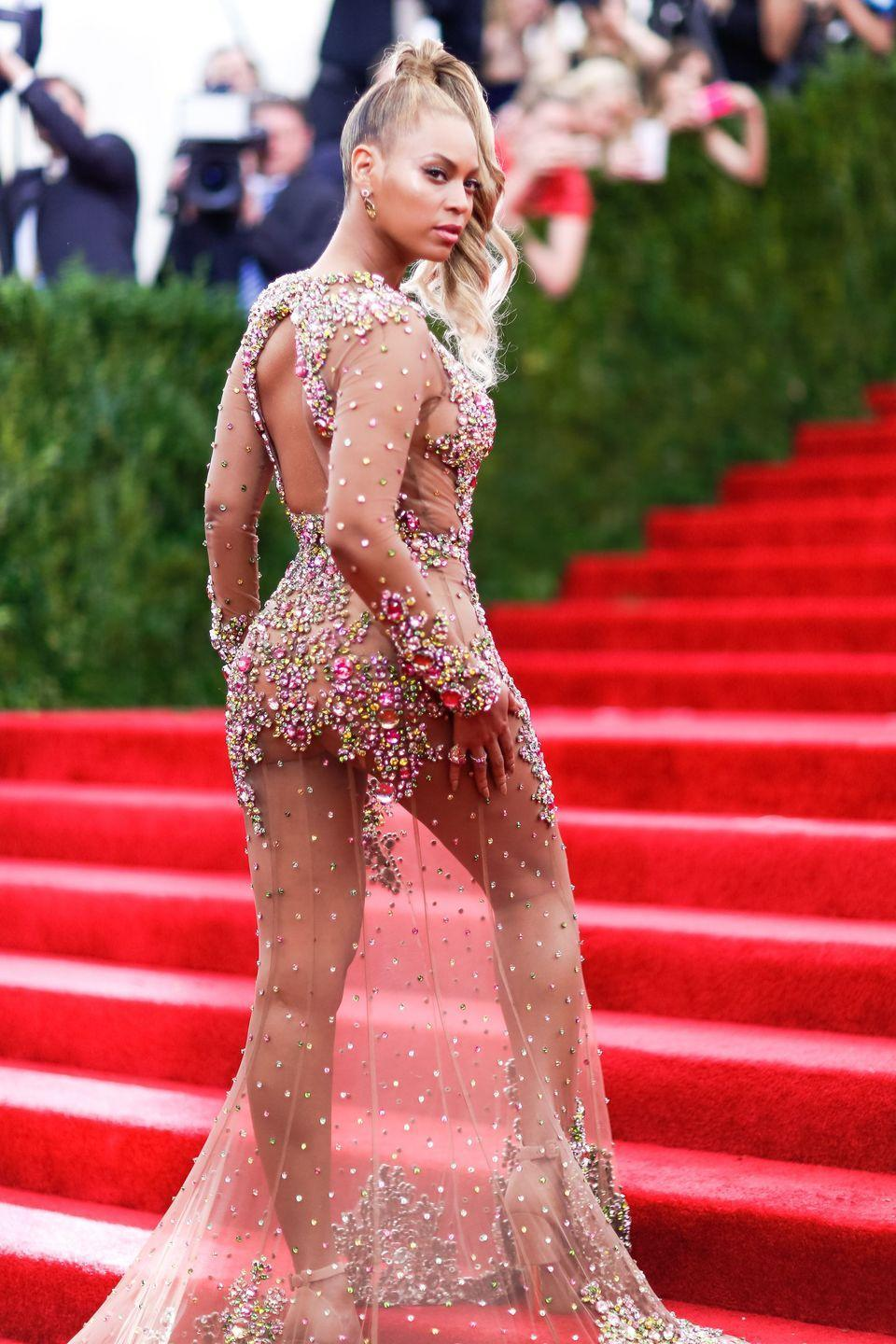 <p>Leaving little to the imagination in a sheer Givenchy dress at the 2015 Met Ball.</p>