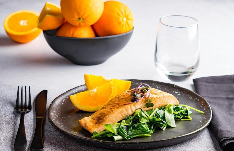 "<p>Citrus and seafood go together like peanut butter and jelly. This easy baked salmon recipe uses an orange, soy and ginger sauce to impart Japanese-inspired flavors. <a href=""https://www.thedailymeal.com/cook/25-rice-dishes-will-make-you-forget-potatoes-slideshow?referrer=yahoo&category=beauty_food&include_utm=1&utm_medium=referral&utm_source=yahoo&utm_campaign=feed"" rel=""nofollow noopener"" target=""_blank"" data-ylk=""slk:Serve over rice"" class=""link rapid-noclick-resp"">Serve over rice</a> for an easy, delicious dinner.</p> <p><a href=""https://www.thedailymeal.com/best-recipes/citrus-teriyaki-salmon?referrer=yahoo&category=beauty_food&include_utm=1&utm_medium=referral&utm_source=yahoo&utm_campaign=feed"" rel=""nofollow noopener"" target=""_blank"" data-ylk=""slk:For the Citrus Teriyaki Salmon recipe, click here."" class=""link rapid-noclick-resp"">For the Citrus Teriyaki Salmon recipe, click here.</a></p>"
