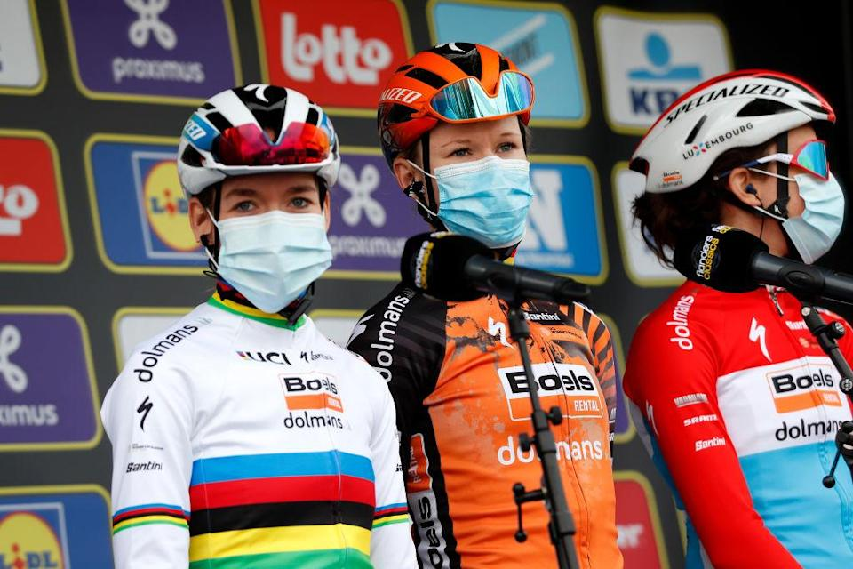 OUDENAARDE BELGIUM  OCTOBER 18 Start  Anna Van Der Breggen of The Netherlands World Champion Jersey Jolien Dhoore of Belgium and Boels Dolmans Cycling Team  Mask  Covid safety measures  Team Presentation  during the 17th Tour of Flanders 2020  Ronde van Vlaanderen  Women Elite a 1356km stage from Oudenaarde to Oudenaarde  RVV20  FlandersClassic  on October 18 2020 in Oudenaarde Belgium Photo by Bas CzerwinskiGetty Images