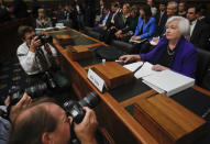 FILE - In this Sept. 28, 2016, file photo Federal Reserve Board Chair Janet Yellen prepares to testify on Capitol Hill in Washington before the House Financial Services Committee. (AP Photo/Pablo Martinez Monsivais, File)