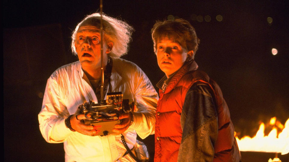 Christopher Lloyd and Michael J. Fox in 'Back to the Future'. (Credit: Universal)