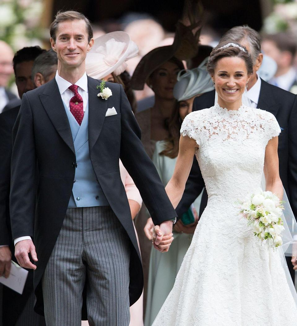 """<p>Pippa Middleton, Kate Middleton's younger sister, <a href=""""http://www.townandcountrymag.com/the-scene/weddings/a9207132/pippa-middleton-wedding-updates/"""" rel=""""nofollow noopener"""" target=""""_blank"""" data-ylk=""""slk:married her longtime boyfriend"""" class=""""link rapid-noclick-resp"""">married her longtime boyfriend</a> James Matthews on May 20, 2017. The ceremony took place in Berkshire, England, and Middleton wore a custom Giles Deacon gown. </p>"""
