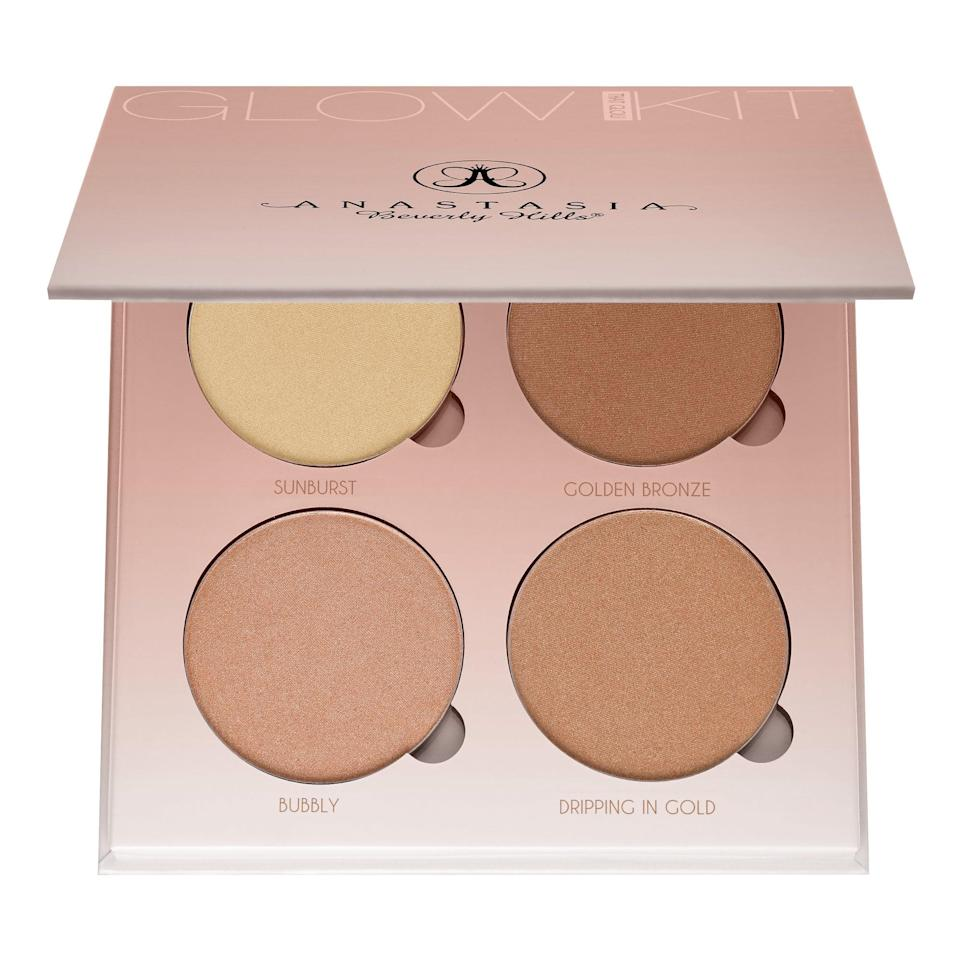 "<p>Since witnessing the success of the Contour Kit, Anastasia released a complementary product that focuses on strobing and highlighting called the <a href=""https://www.popsugar.com/buy/Anastasia-Beverly-Hills-Glow-Kit-584139?p_name=Anastasia%20Beverly%20Hills%20Glow%20Kit&retailer=sephora.com&pid=584139&price=40&evar1=bella%3Aus&evar9=41950877&evar98=https%3A%2F%2Fwww.popsugar.com%2Fbeauty%2Fphoto-gallery%2F41950877%2Fimage%2F41950882%2FAnastasia-Beverly-Hills-Glow-Kit&list1=makeup%2Ceyebrows%2Cbeauty%20shopping%2Canastasia%20beverly%20hills&prop13=mobile&pdata=1"" class=""link rapid-noclick-resp"" rel=""nofollow noopener"" target=""_blank"" data-ylk=""slk:Anastasia Beverly Hills Glow Kit"">Anastasia Beverly Hills Glow Kit</a> ($40). Each kit features four metallic shades that will leave you with megawatt cheekbones. </p>"