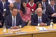 james and Rupert Murdoch giving evidence to MPs