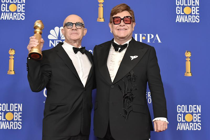 Bernie Taupin and Elton John attend the 77th Golden Globes Awards on January 05, 2020. (Photo by David Crotty/Patrick McMullan via Getty Images)